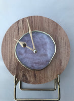 "7.5"" Large Light Wood Rose Quartz Wall/Desk Clock/Personalised Momento"