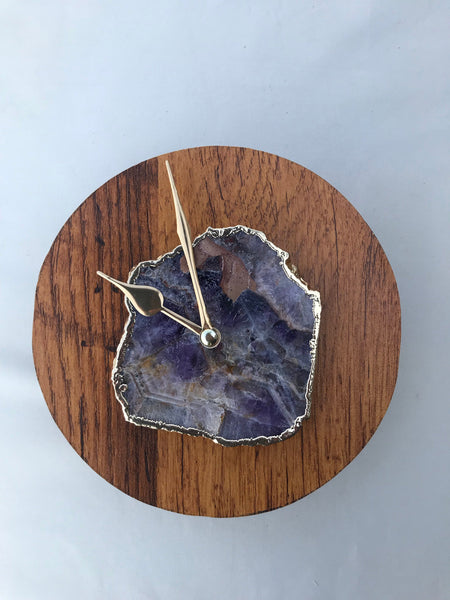 "7.5"" Large Burnt Wood Amethyst Wall/Desk Clock/Personalised Momento"