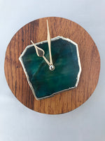 "7.5"" Large Burnt Wood Green Agate Wall/Desk Clock/Personalised Momento"