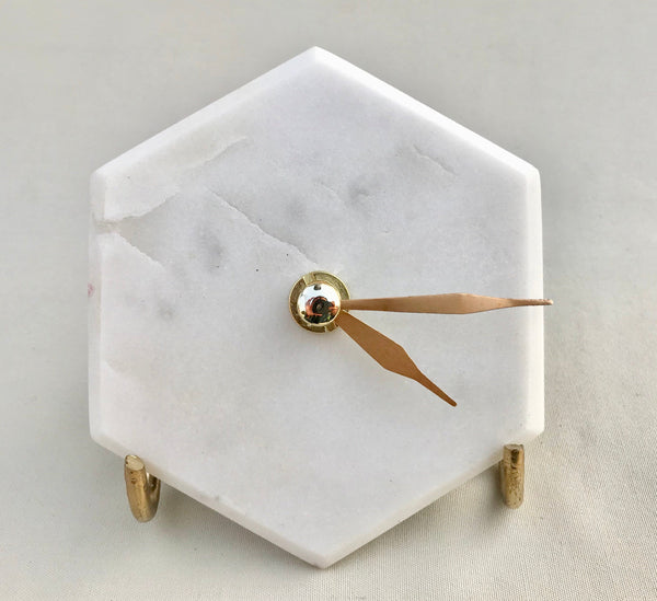 Hexagon Marble White Desk/Wall Clock/Personalised Momento