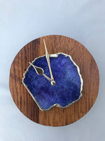 "7.5"" Large Burnt Wood Snowy Blue Agate Wall/Desk Clock/Personalised Momento"