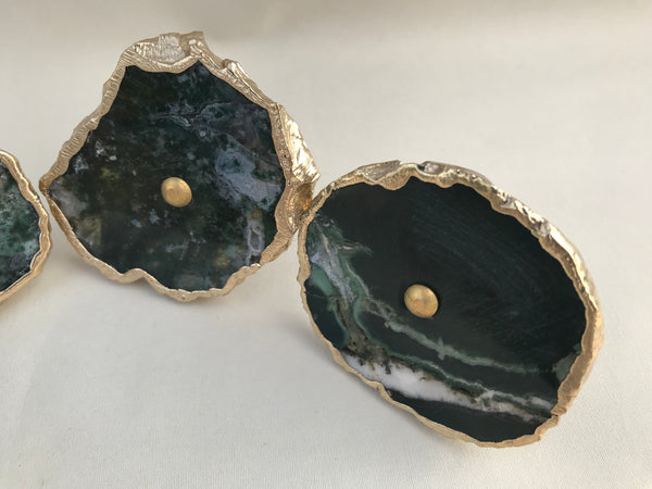 Set of 6 Moss Green Agate Classic Vintage Finish Cabinet Drawer Pull Wardrobe Dresser Interior Decorative Handle