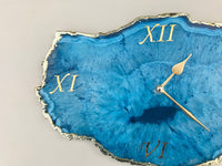 "7.5"" Large Antique White Wood Snowy Blue Agate Wall/Desk Clock/Personalised Momento"