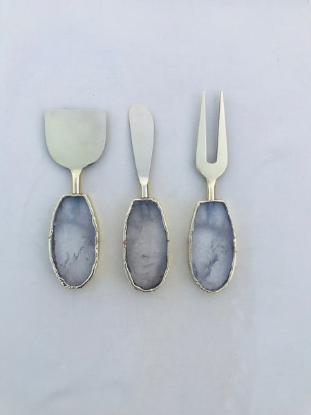 Set of 3 Agate Clear Quartz Cheese Knives/Spreaders