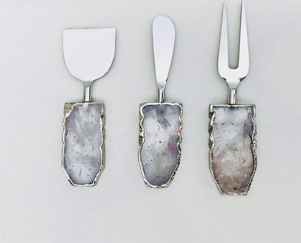 Set of 3 Clear Quartz Agate Cheese Knives/Spreaders