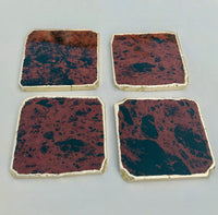Mahogany Glass - Set of 4 Large Coasters/Personalised Momentos