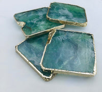 Green fluorite/Gemstone/Semi-precious stone/Agate - Set of 4 Large Coasters/Personalised Momentos