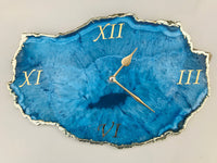 "10 "" Frosted Glass Aqua Agate Wall Clock/Personalised Momento"