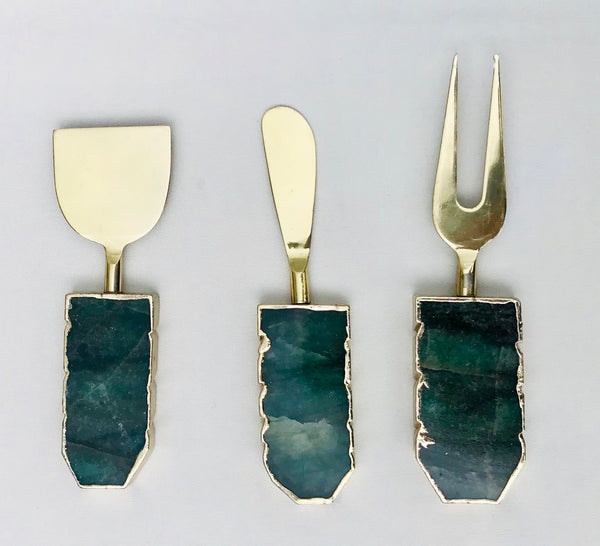 Set of 3 Green Agate Cheese Knives/Spreaders