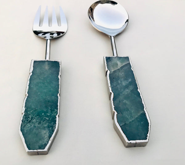 Green Agate Salad Server - Set of 2