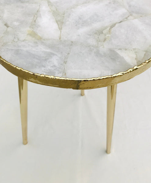 White Agate Round Edge Side/Coffee Table