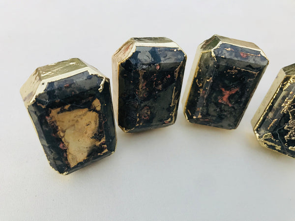 Set of 4 Large Faceted Pyrite Gemstone/Agate Classic Vintage Finish Cabinet Drawer Pull Wardrobe Dresser Interior Decorative Handle