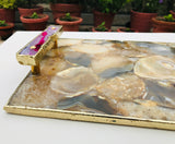 Brown Plated Agate Serving Tray With Pink Onyx/Agate Handles/Persoanlised Momentos/Sign Boards
