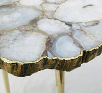 White Crystal Agate Organic Edge Side/Coffee Table