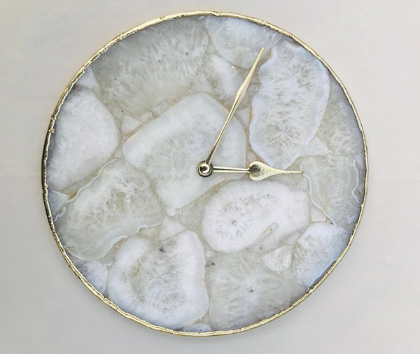 Large White Crystal Agate Wall Clock/Personalised Momento