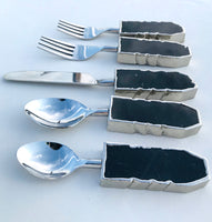 Set of 5 Pieces Black Agate Cutlery