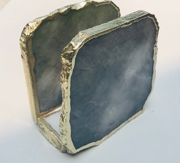 Grey Agate Napkin Holder, Natural Stone Napkin Holder, Paper Napkin Holder, Desk Napkin Holder,Picnic Holder