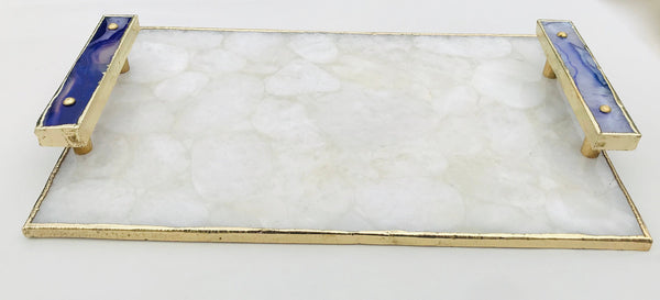 White Crystal Agate Plated Serving Tray With Purple Agate/Onyx Handles/Persoanlised Momentos/Sign Boards