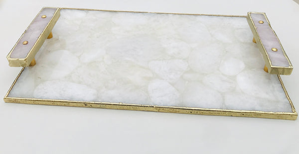White Crystal Agate Plated Serving Tray With Rose Quartz Handles/Persoanlised Momentos/Sign Boards