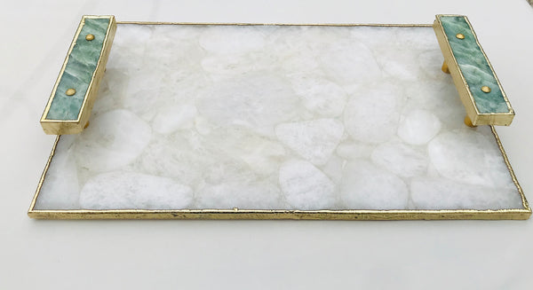 White Crystal Agate Plated Serving Tray With Green Agate Handles/Persoanlised Momentos/Sign Boards