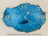 Brown Crystal Agate Large Wall Clock/Personalised Momento