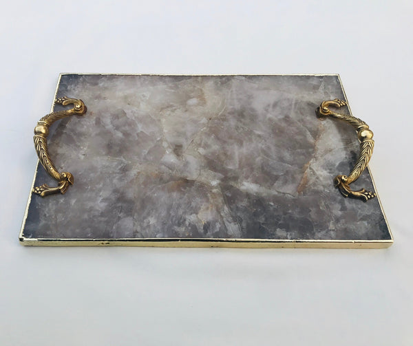 Smoky Quartz Agate Serving Tray With Brass Handles