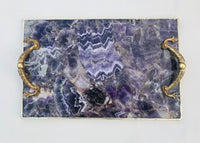 Amethyst Agate Serving Tray With Brass Handles