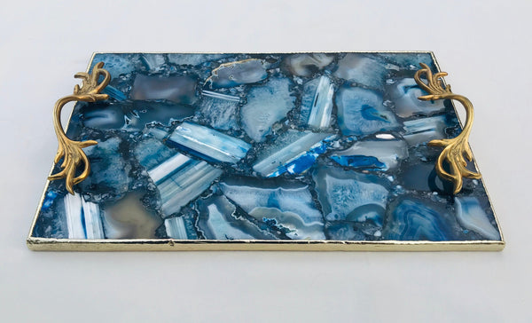 Blue Agate Serving Tray With Brass Handles