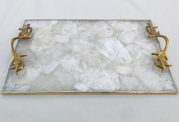 White Agate Serving Tray With Brass Handles
