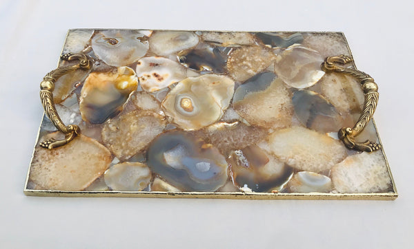 Golden Brown Agate Serving Tray With Brass Handles