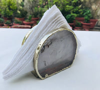 Hand Rounded Clear Quartz Agate Napkin Holder, Natural Stone Napkin Holder, Paper Napkin Holder, Desk Napkin Holder,Picnic Holder