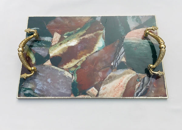 Multi Coloured Jasper Agate Serving Tray With Brass Handles