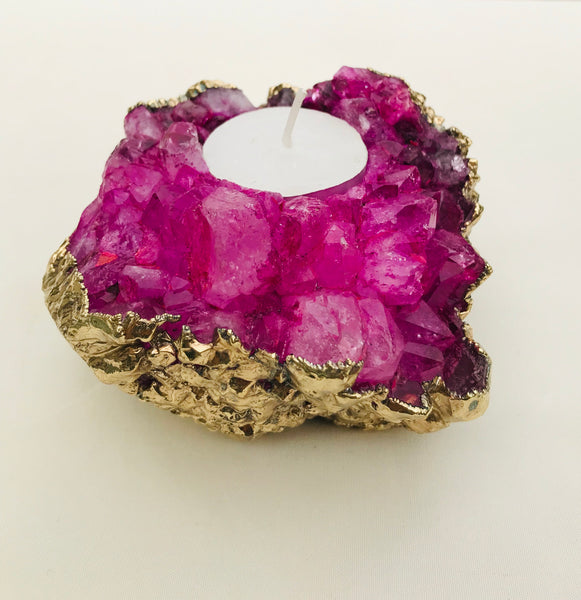 Pink Agate Crystal Tea light holder /Agate/Gemstone/Crystal/Quartz/Natural
