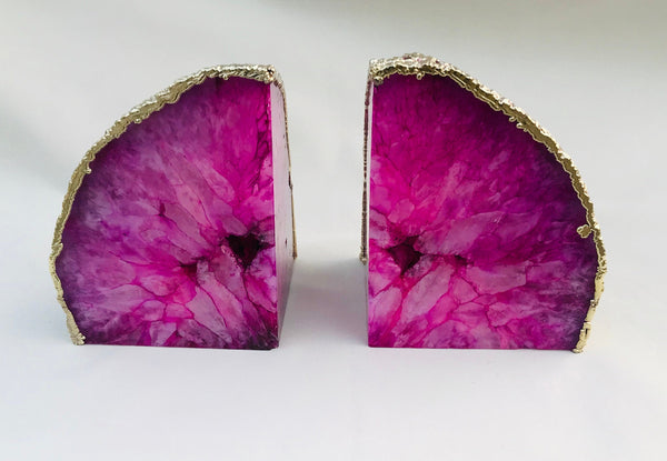 Pink Plated Agate Bookends