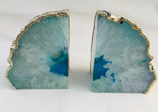Aqua Plated Agate Bookends