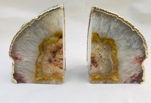 Natural Clear Plated Agate Bookends