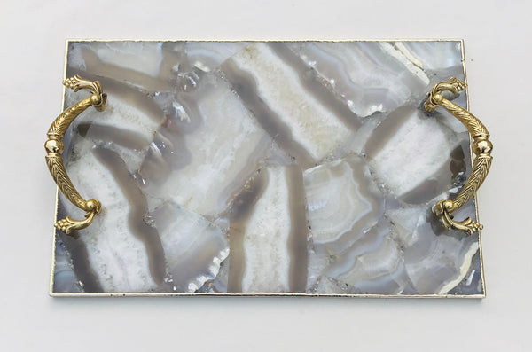 Wild Agate Serving Tray With Brass Handles