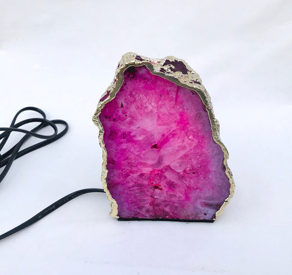 Pink Agate/Gemstone/Lamp/Desk/Night Light