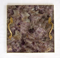 Amethyst Agate Serving Tray With Brass Handles Style 4 | Square