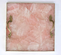Rose Quartz Agate Serving Tray With Brass Handles Style 1 | Square