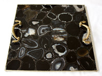 Black Agate Serving Tray With Brass Handles Style 4 | Square
