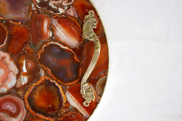 Red Agate Serving Tray With Brass Handles | Circular