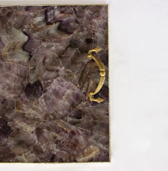 Amethyst Agate Serving Tray With Brass Handles Style 2 | Square