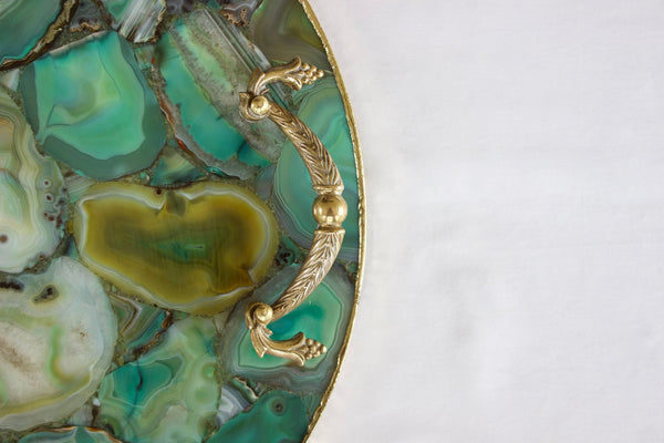 Green Agate Serving Tray With Brass Handles | Circular
