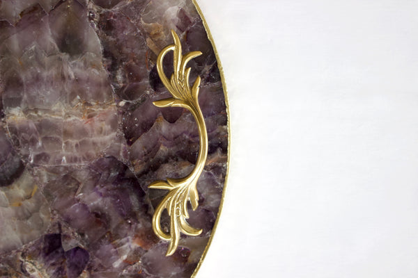 Amethyst Agate Serving Tray With Brass Handles | Circular