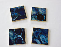 Blue Agate - Set of 4 Large Square Coasters | Personalised Momentos