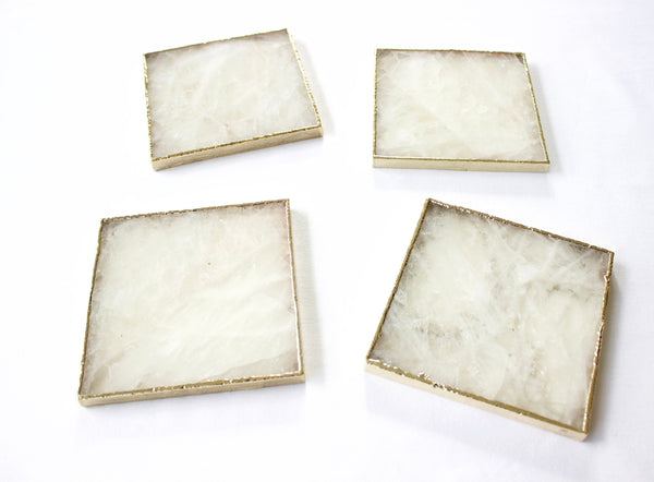 White Agate - Set of 4 Large Square Coasters | Personalised Momentos