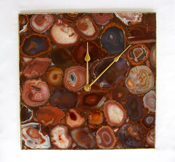 Red Agate Wall Clock | Square