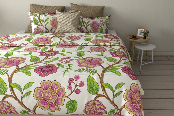 Zinnia Fully Embroidered Cotton Linen Duvet Cover | Duvet Cover Set | Shams | Floral