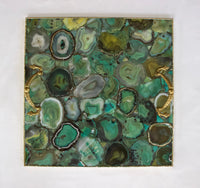Light Green Agate Serving Tray With Brass Handles | Square